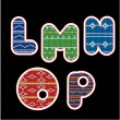 Knitted alphabet - LMNOP — Stockvektor
