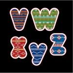 Knitted alphabet - VWXYZ — Stock Vector