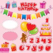 Set di elementi di festa di compleanno per il vostro disegno con orsacchiotto, — Vettoriale Stock