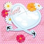 心とツバメのバレンタインデー カード — ストックベクタ