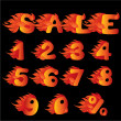 Stockvector : Flaming Numbers, percent symbol and word SALE