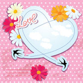 Valentines day card with heart and swallows — Vector de stock