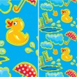 Seamless pattern with rubber duck and boots, clouds, umbrella an — Stock Vector