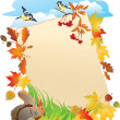 Stock Vector: Background with portrait frame with Autumn Leafs