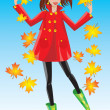 Stock Vector: Pretty girl dressing coat and rubber boots