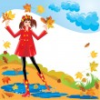 Pretty girl dressing coat and rubber boots walks in autumnal par — Stock Vector #12624163