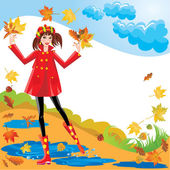 Pretty girl dressing coat and rubber boots walks in autumnal par — Stock Vector