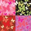 Abstract backgrounds with butterflies siluetes — Imagen vectorial