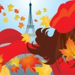 Cute woman face with red scarf and beret and maple leafs and eif — Stockvektor