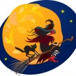 Halloween night: witch and black cat flying on broom on moon bac — Stock Vector