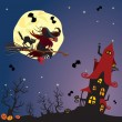 Halloween night: witch and black cat flying on broom to mystery — Stock Vector