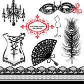 Sada prvků pro ženy - karnevalové masky, korzet, páv feath — Stock vektor