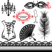 Set of elements for women - Carnival Mask, Corset, Peacock feath — Stock Vector