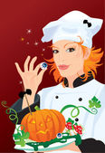 Witch - chef cooking for Halloween party — Stock Vector