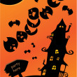 Stock Vector: Halloween poster with sign, mystery house, bats and moon. Empty