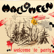 Design of invitation card or placard to Halloween party — Stock Vector #12712435