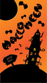 Halloween poster with sign, mystery house, bats and moon. Empty — Stock Vector