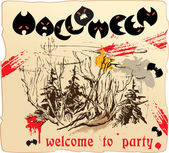 Design of invitation card or placard to Halloween party — Stock Vector