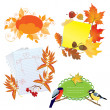 Autumn frames with Leafs, pieces of paper and birds — 图库矢量图片