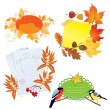 Autumn frames with Leafs, pieces of paper and birds — Imagen vectorial