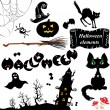 Stock Vector: Set of Halloween elements - pumpkin, bats, ghost, cat, mistery