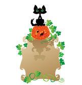Engraçado gato halloween e abóbora — Vetor de Stock