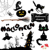 Set of Halloween elements - pumpkin, bats, ghost, cat, mistery — Stock Vector