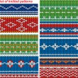 Set of 9 knitted ornamental seamless patterns. — Stockvektor