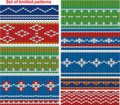 Set of 9 knitted ornamental seamless patterns. — Stock Vector