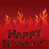 Halloween card with Flaming texture and letters in devil style — ストックベクタ