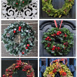 Set of 6 pictures Christmas decoration wreath - Stock Photo