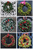 Set of 6 pictures Christmas decoration wreath — Stock Photo