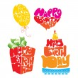 Heart, Ballon, Cake, Giftbox are Formed From Happy Birthday Text — Stock Vector