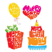 Coração, balão, bolo, giftbox são formados a partir de texto de feliz aniversário — Vetorial Stock