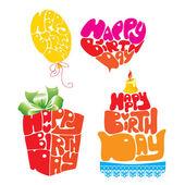 Cuore, ballon, torta, giftbox sono costituiti da testo buon compleanno — Vettoriale Stock