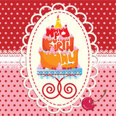 Cake Formed From Happy Birthday Text - card — Stock Vector
