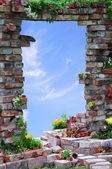Arched entrance through the Wall and sky background — Stock Photo