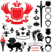 Set of heraldic silhouettes elements - icons of blazon, crown, l — Stockvektor