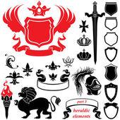 Uppsättning av heraldiska silhuetter element - ikoner av skölden, krona, l — Stockvektor