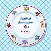 The seafood restaurant menu design - dish on checked tablecloth — Stock Vector