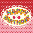 Vector de stock : Happy birthday, letters are made of different gift boxes and pre