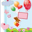 Baby birthday card with teddy bear and gift box flying with ball — Stock Vector