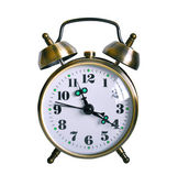 Retro Alarm clock isolated against white background — Stock Photo