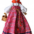 Hand made doll in traditional dress, Russia, isolated against wh — Photo