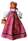 Hand made doll in traditional dress, Russia, isolated against wh — Stock Photo