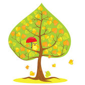 One of Four seasons - autumn - tree and funny bird. — Stock Vector