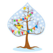 One of Four seasons - winter - tree and funny bird. — Stock Vector