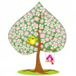 One of Four seasons - spring - tree and funny bird. — Stock Vector