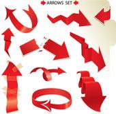 Sada různých papíru červené šipky — Stock vektor