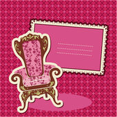 Pink Armchair and picture on checked background - card with empt — Stock Vector
